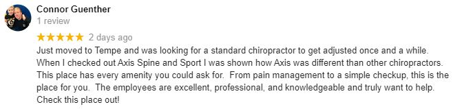 Chiropractic Tempe AZ Patient Testimonial at Axis Spine and Sport