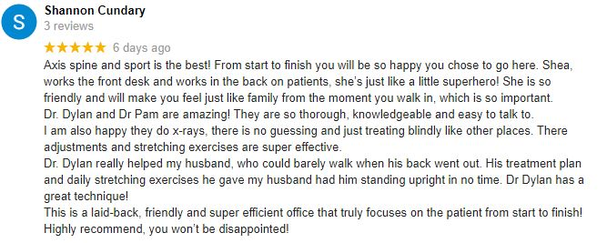 Chiropractic Tempe AZ Patient Testimonials at Axis Spine and Sport